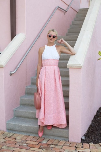 atlantic pacific blogger dress shoes bag sunglasses pink skirt white top pink pink shoes date outfit