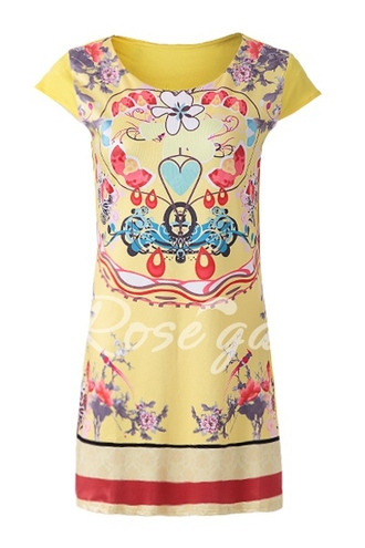 dress yellow sleeved colorful summer
