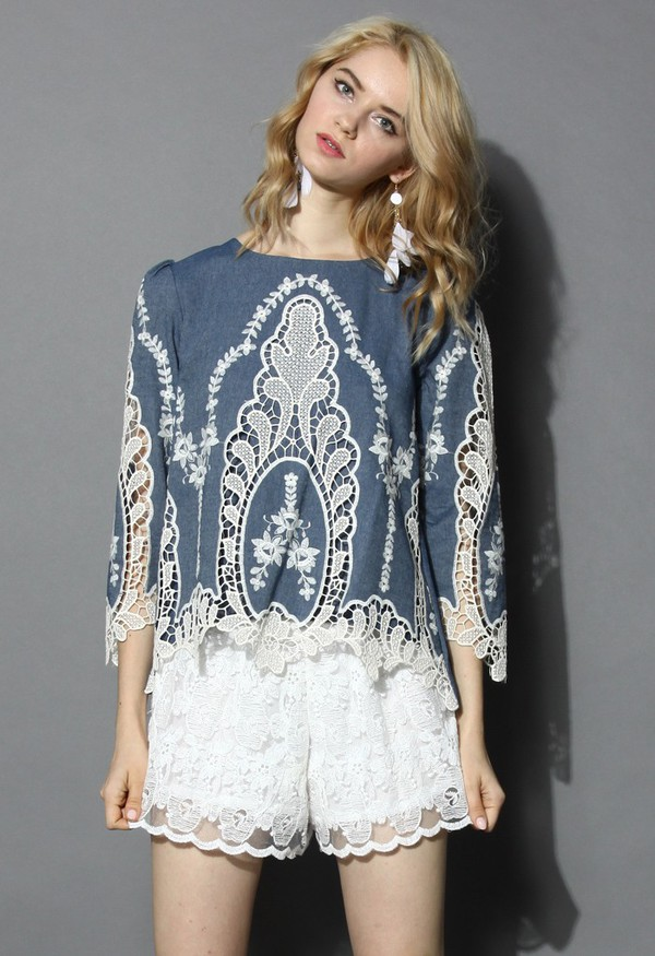 top chicwish flawless baroque lace cutout denim top