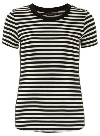 Stripe leather look side tee - Dorothy Perkins