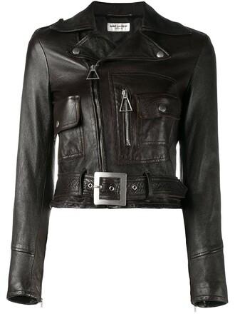 jacket biker jacket cropped women cotton brown