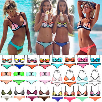 swimwear bikini bikini top bikini bottoms blue orange pink white green yellow neon triangle bikini triangle summer tumblr bikini tumblr girl tumblr clothes trendy brazilian bikini seperates neoprene bikini