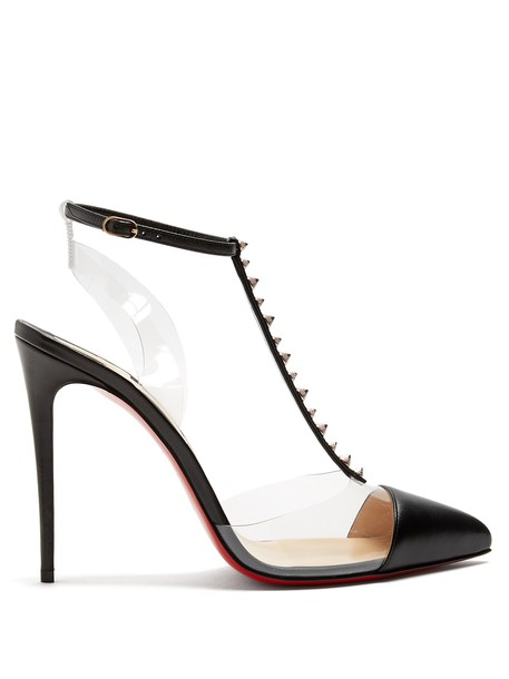 christian louboutin spikes pumps leather gold black shoes