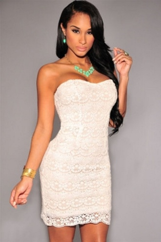 dress mini mini dress nude illusion nude illusion dress white crochet crochet white white dress sleeveless strapless sexy wots-hot-right-now