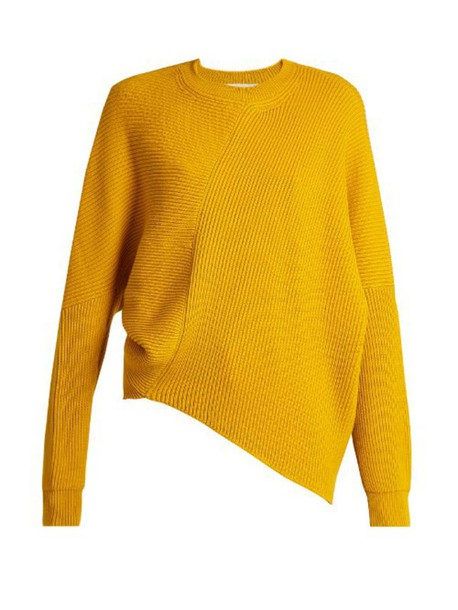 STELLA MCCARTNEY Asymmetric long-sleeved ribbed sweater in yellow ...