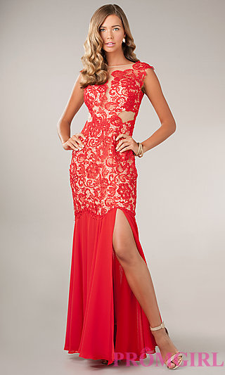 Floor Length Lace Embellished Dress by Temptation