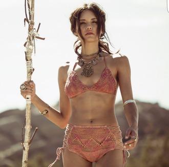 swimwear bikini top bikini bottoms bikini pink o'neill summer top top tank top bohemian vintage