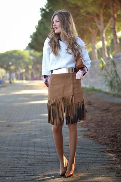 mi aventura con la moda blogger skirt shirt sweater belt shoes