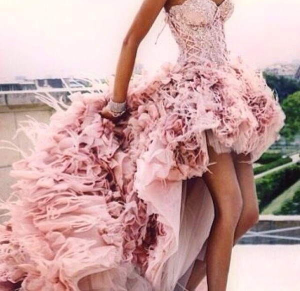 pink dress pink homecoming prom beautiful pretty sexy train neckline short prom dress corset