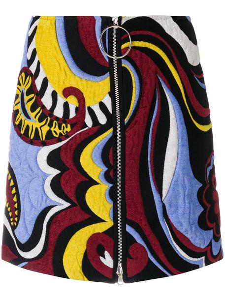 Emilio Pucci skirt embroidered zip women cotton wool