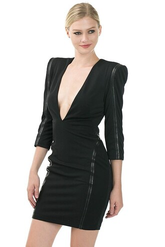 dress leather faux leather trim little black dress deep v shoulder pad bodycon tight sexy mini trendyish long sleeves