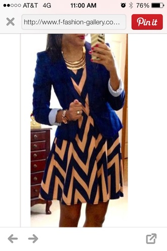 dress navy beige chevron adorable jacket