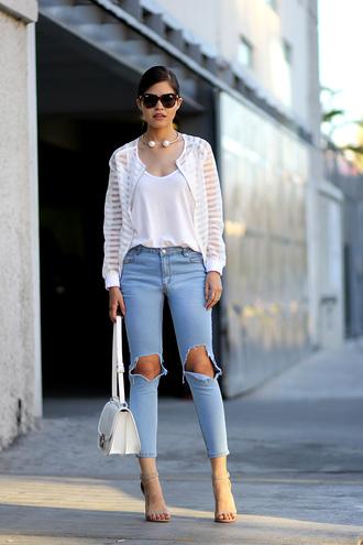 fake leather jacket jeans shoes bag sunglasses jewels