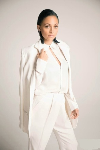 pants blouse jacket blazer nicole richie white