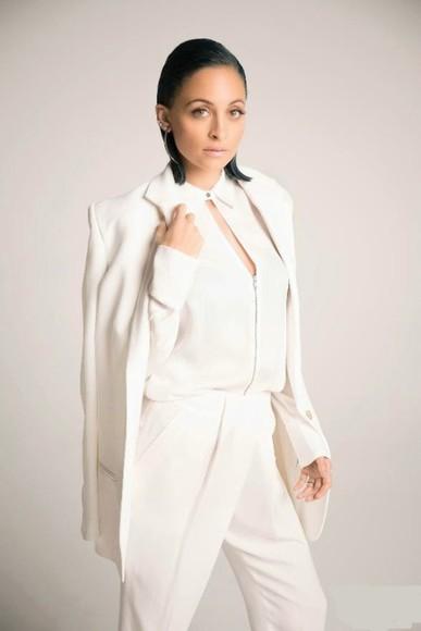 nicole richie white pants blouse jacket blazer