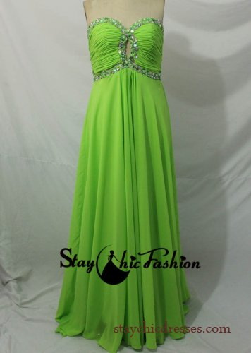 Pleated Green Long Strapless Crisscross Beaded Top Chiffon Prom Dress [SC-106] - $160.00 : Prom Dresses On Sale, Semi-formal Dresses Online|StaychicDresses