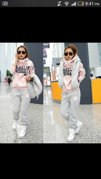 sweater franklin marshall pink leggings sportswear winter sweater winter outfits girly fashion scarf jacket