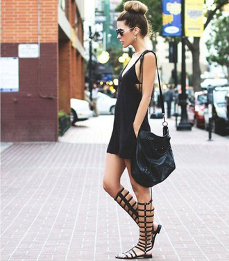shoes sandals gladiator fashion black summer outfits cool udobuy flat knee high girl