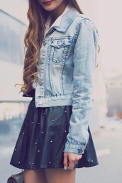 jacket,denim jacket,vintage-inspired denim jacket,fashion,skirt,polka dots,white shirt,shirt,polka dot skirt,curled hair,grey skirt,denim,blue,black,white,grey,stamps