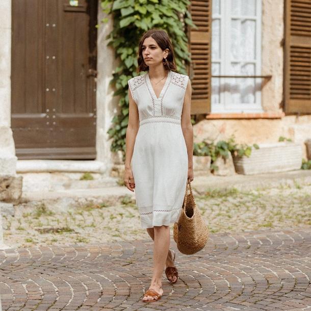 dress midi dress sleeveless dress shoes bag white dress summer dress slide shoes handbag