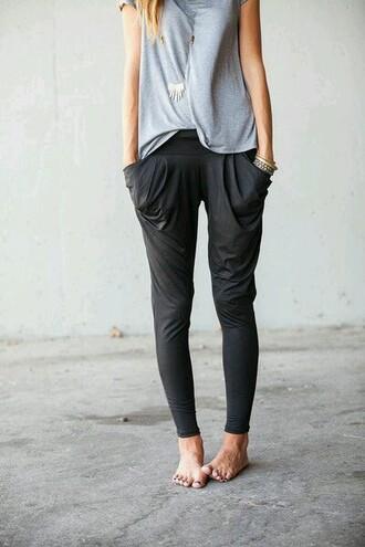 pants loose pants harlem pants gray pants grey pants loose fit