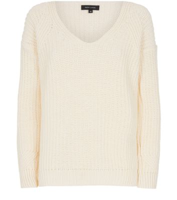 Cream Deep V Neck Fisherman Knit Jumper