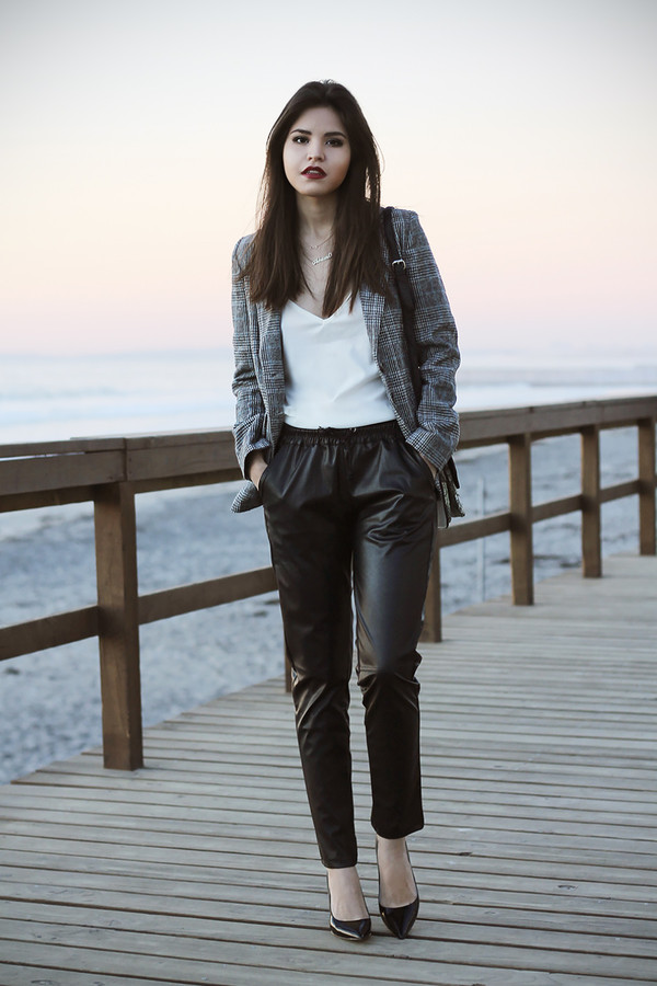 fake leather jacket tank top pants bag shoes