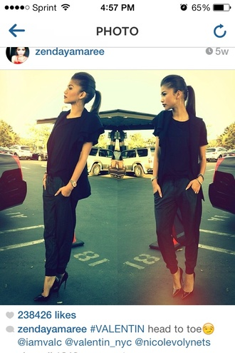 pants black pretty cute high heels fashion shoes shirt
