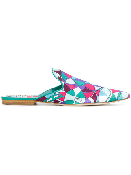 Emilio Pucci women mules leather silk shoes
