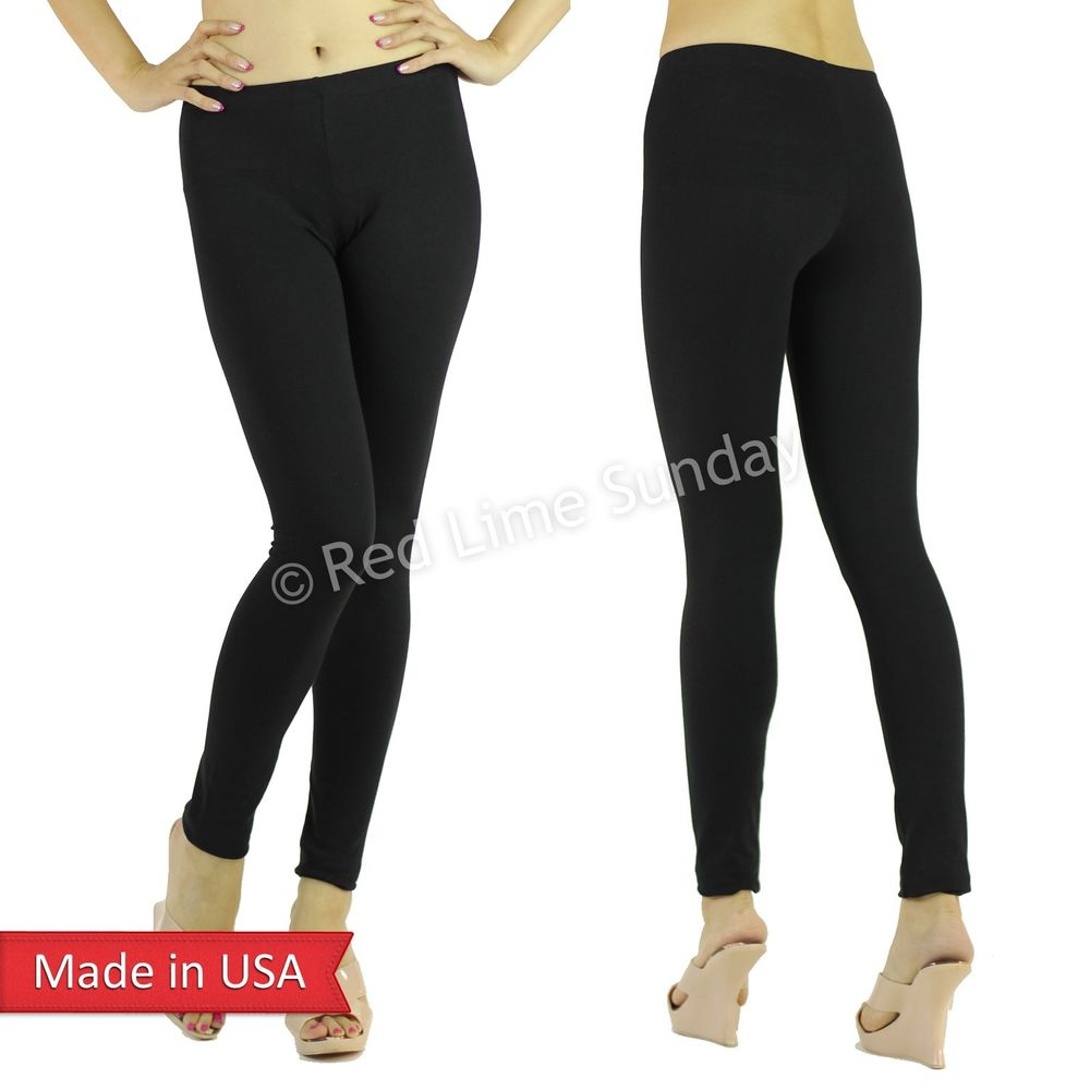 New Women Basic Black Solid Color Cotton Stretchy Fit Leggings Tight Pants USA