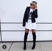 shirt,adidas,leather jacket,overknee boots