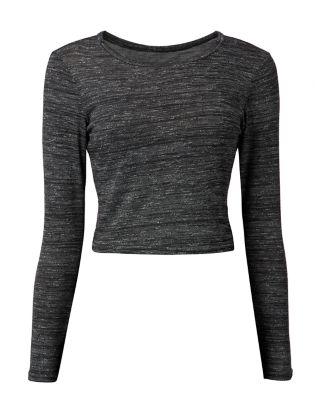 27dd1b02efa743 Dark Grey Long Sleeve Crop Top