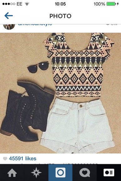 shirt black boots tribal pattern shirt shoes tank top