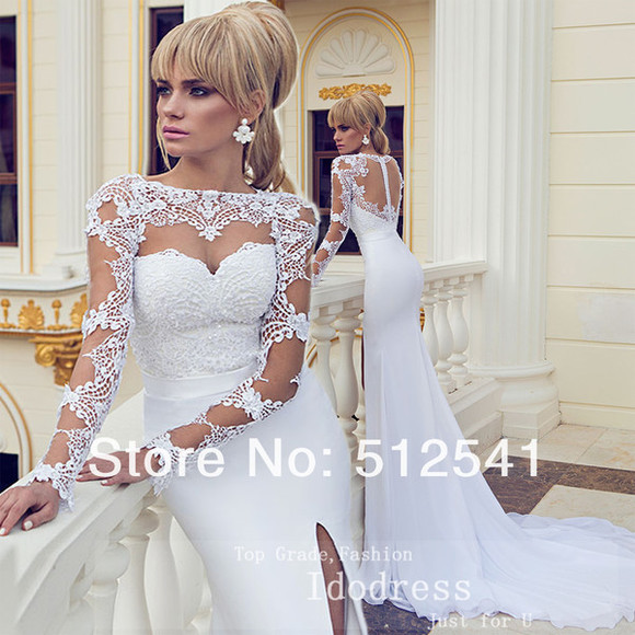 prom dress wedding dress bridal gown white dress split dress mermaid wedding dresses lace wedding dresses appliques court train formal dresses