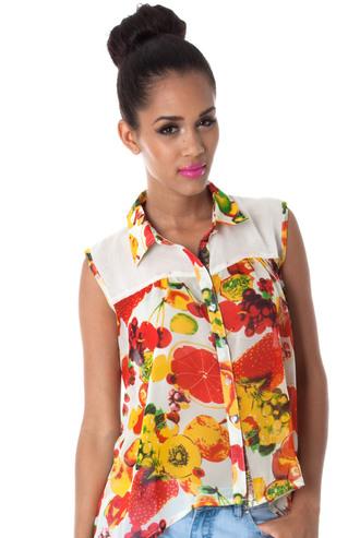 blouse fruits summer fruity sleeveless plain yoke