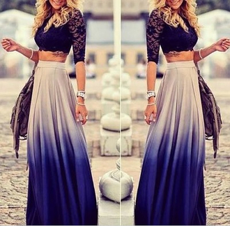 ombre maxi skirt lace crop top black crop top blue skirt