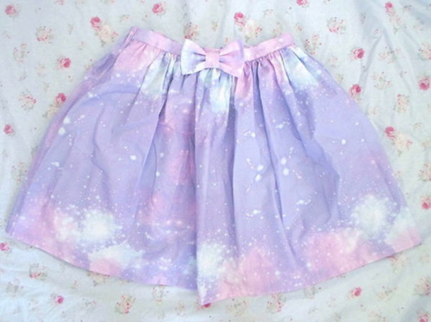 skirt galaxy print pastel goth bows purple turquoise colorful goth kawaii purple skirt galaxy skirt space stars