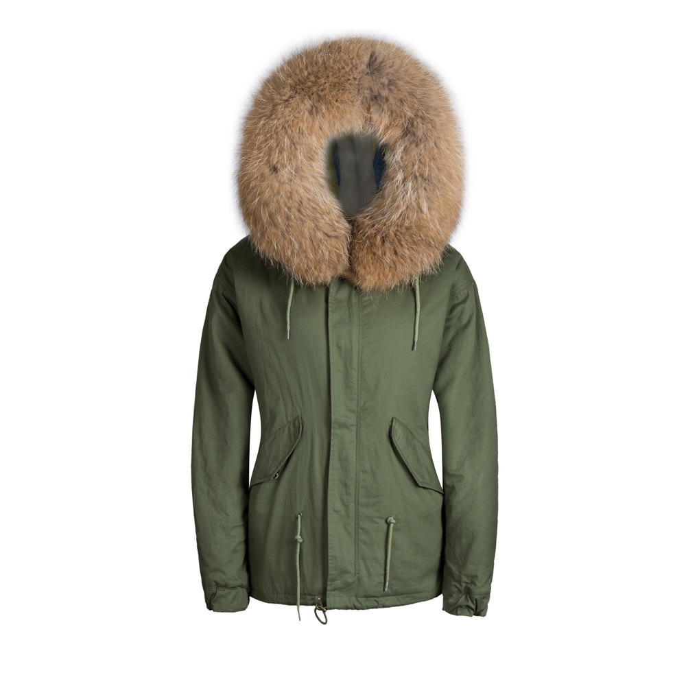 Fur Collar Parka Jacket Natural