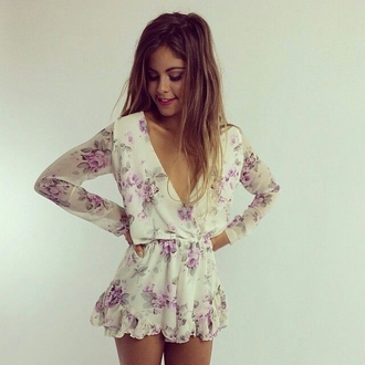dress blouse long sleeve floral playsuit white flowered print romper flowers jumpsuit. jumpsuit floral summer kimono beach style clothes flower print playsuit purple cute summer outfits trendy sexy long sleeve romper floral romper vintage romper white romper romper dress pom pom playsuit cute dress summer dress style of summer ☀️ pretty girl party short long sleeves