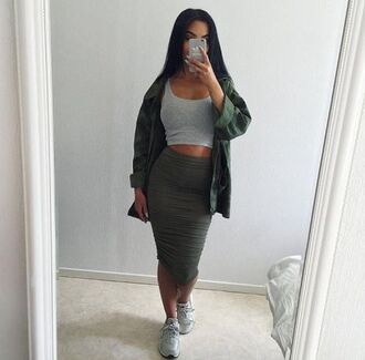 jacket outfit tumblr baddies green olive green camouflage camo jacket crop tops tank top midi skirt bodycon skirt