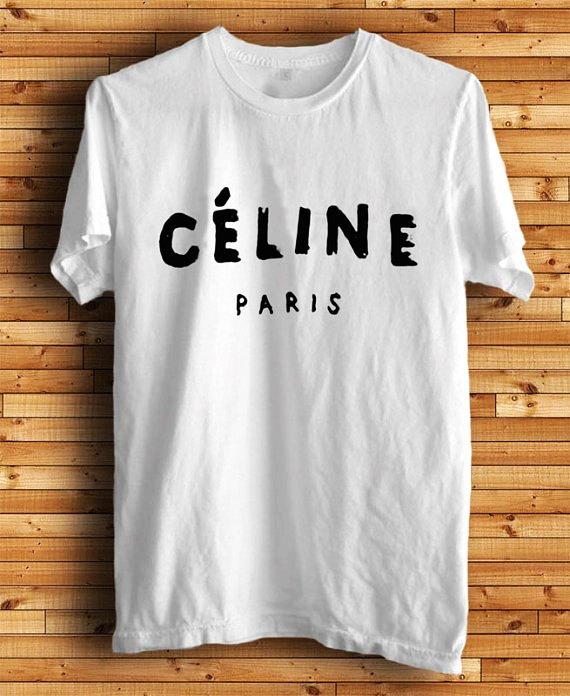 Celine Paris noir et blanc Crew Neck TShirt et par TheSellOut