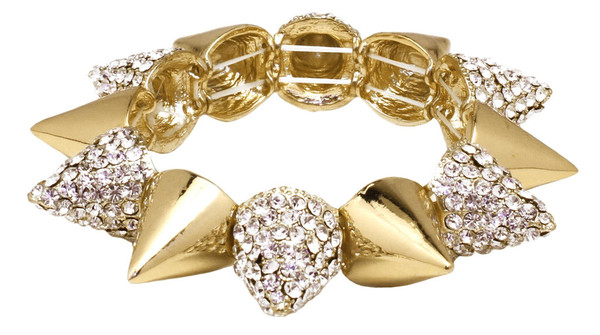 Crystal spiked bracelet Gold plated