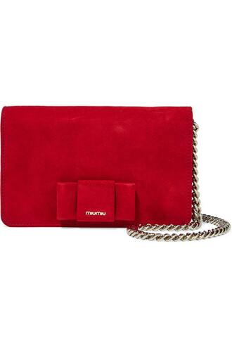 bow embellished bag shoulder bag suede