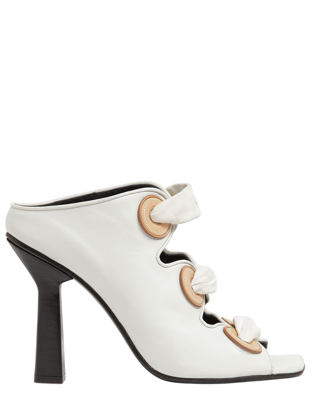 J.W.ANDERSON 100mm Leather Mule Sandal W/ Eyelets in white