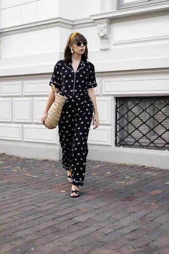 jumpsuit tumblr black jumpsuit shoes sandals flat sandals bag woven bag sunglasses headband hair accessory