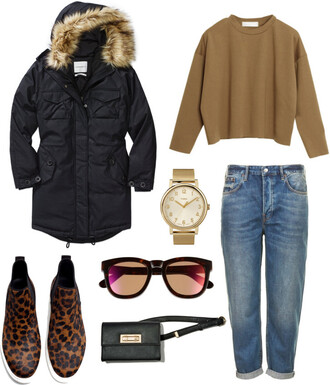 lana jayne blogger sweater top camel mom jeans boyfriend jeans parka black coat winter outfits gold watch leopard print jacket