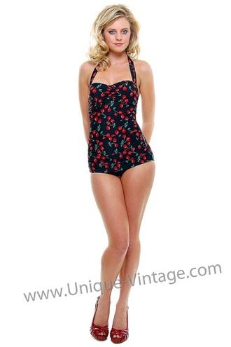 swimwear cherries print fruits one piece swimsuit