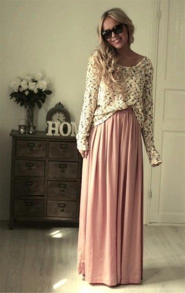 maxi skirt pink dress blonde hair fashion sweater off white sweater cream sweater sweater with maxi skirt skirt maxi skirt mint shirt dress