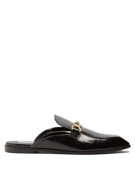 Stella McCartney backless loafers leather black shoes