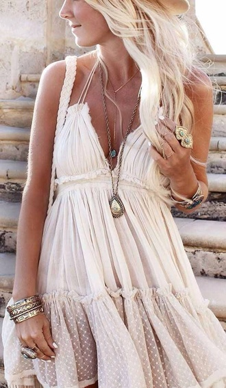 dress boho dress off-white summer beach fashion outfit fashion inspo gypsy white chiffon tan vacation trendy style women v dress lace cotton short dress beautiful